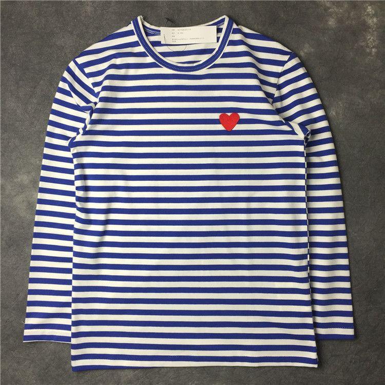 Мужские футболки Японская мода любовь вышивка с длинным рукавом высокая улица полоса с длинными рукавами Свободные женские футболки повседневная одежда
