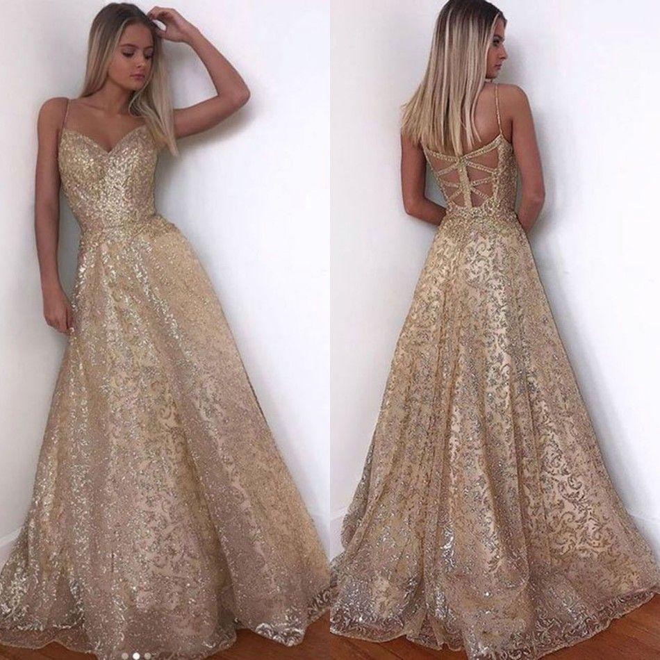 Großhandel Champagne Luxus Gold Lange Pailletten Party Kleid Rosa Doppel V  Ausschnitt Günstige Abendkleider Ärmellos Abschlussball Party Abendkleider