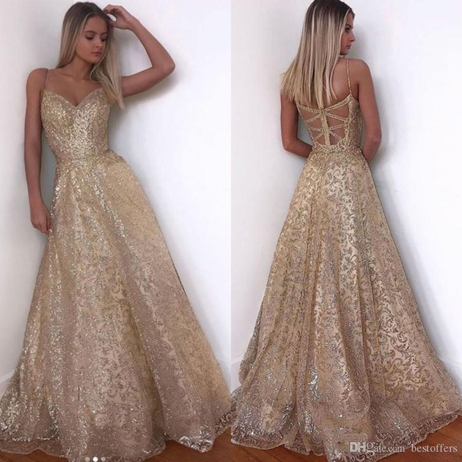 Champagne Vestido de fiesta de lentejuelas de lentejuelas de oro de lujo de Champagne Pink Double V Cuello barato Vestidos de noche sin mangas Vestidos formales de fiesta de fiesta