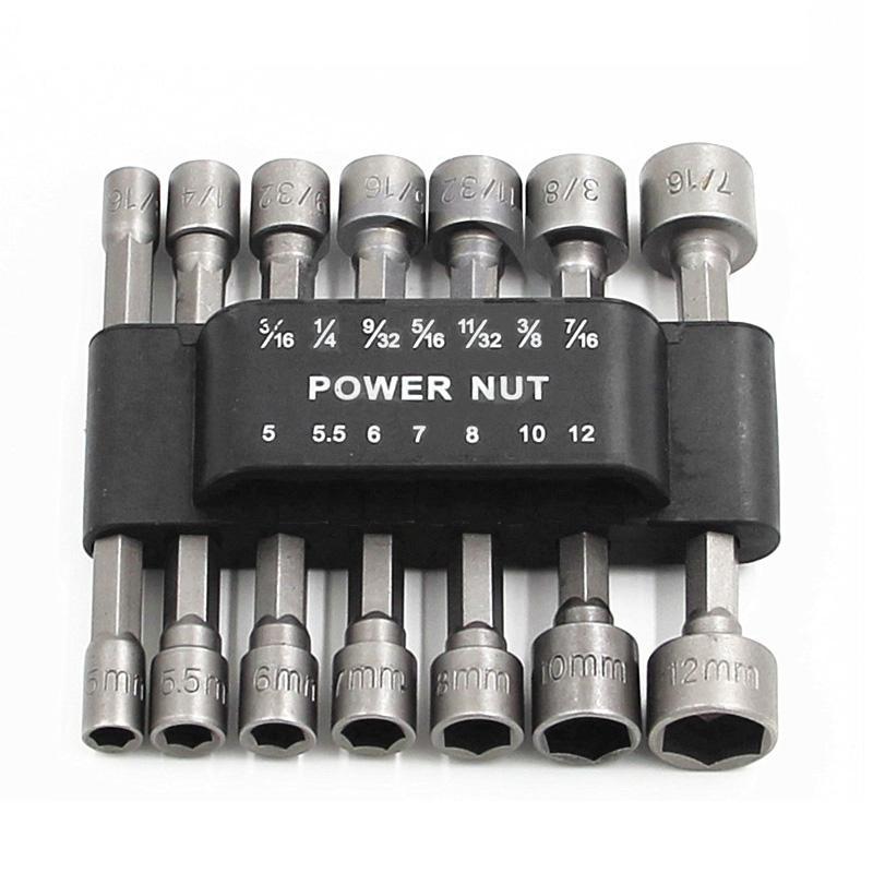 Elektrikli Tornavida El Aletleri Güç Nut Sürücü Seti Soket Adaptörü İçin Set 14pcs Hex Kulp Anahtarı Tornavida Seti Bit