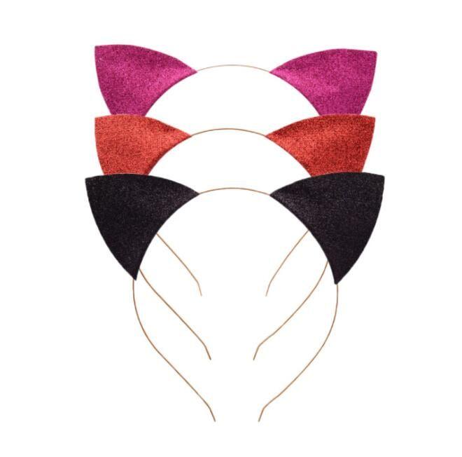Cat Ears Headband Infant Glitter Cat ears headbands Hair Sticks Metal Head Hoop Clasps Holiday Party Wedding Decoration Props GGA3346
