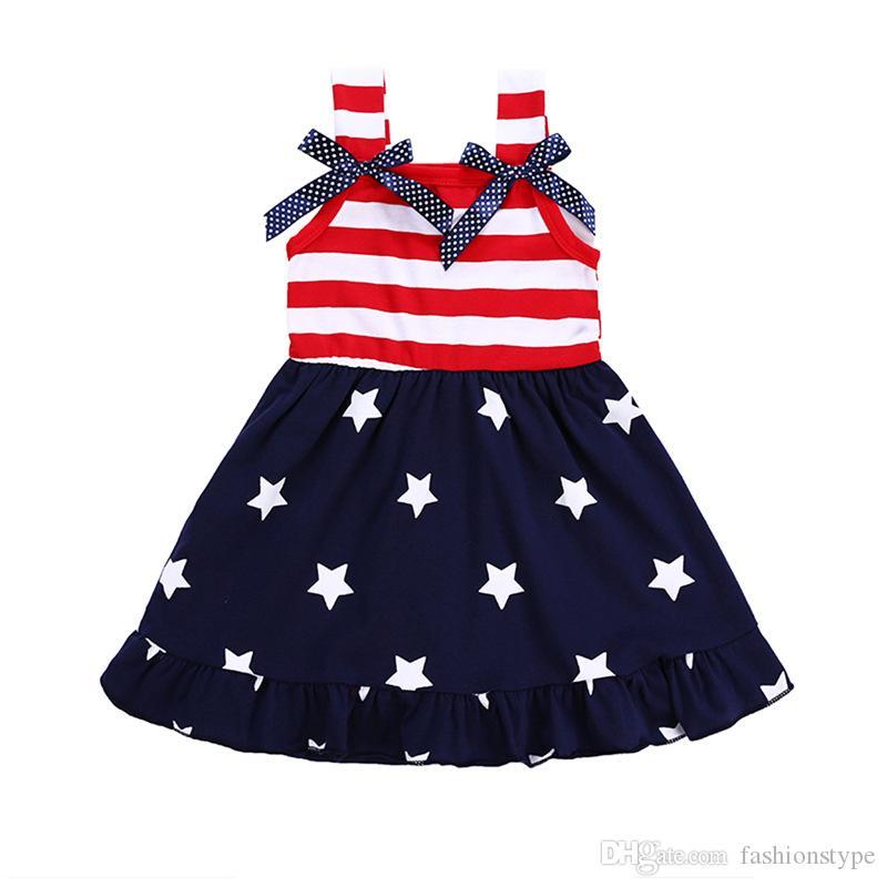 2019 يوم الاستقلال الفتيات الصيف اللباس الاطفال القماش العزاء حزام المشارب القوس نجوم القطن الكشكشة اللباس ملابس الأطفال بوتيك