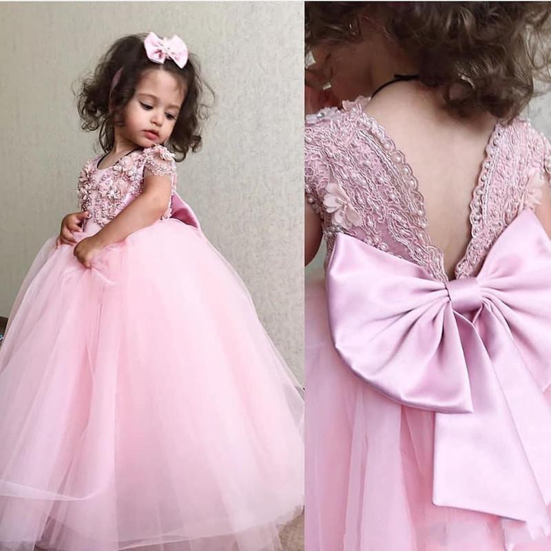 결혼식 반팔 레이스 Applqieus 진주 얇은 명주 그물 긴 여자 선발 대회 드레스 댄스 파티 어린이 성찬식 드레스를위한 새로운 사랑스러운 핑크 꽃의 소녀 드레스