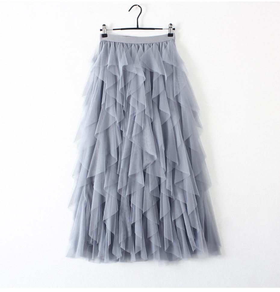 Moda Tutu Tül Etek Kadınlar Uzun Maxi Etek 2020 Koreli Sevimli Pembe Yüksek Bel Pileli Etek Bayan Okul Güneş spódnica
