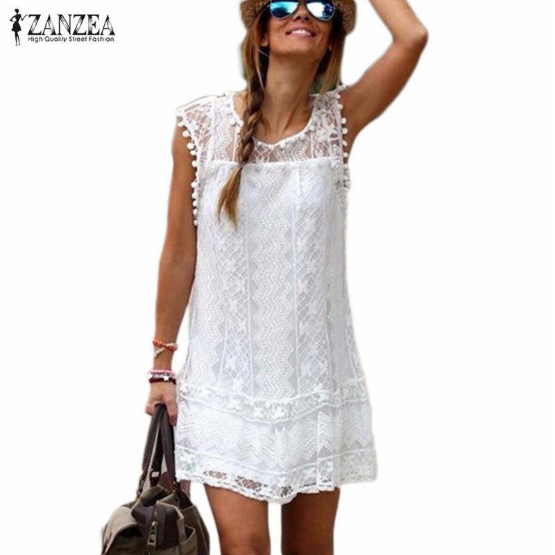 Vestido sexy de mujer Vestido de encaje de borla de verano una línea Casual sin mangas Playa Mini Zanzea Vestidos blancos sólidos Tallas grandes 5xl