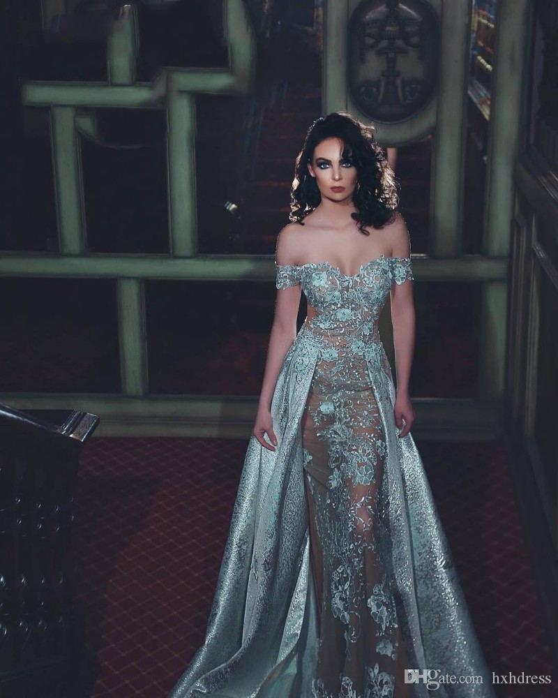 2020 New Plus Size Zuhair Murad Dresses Off Shoulder Floor Length Dress Lace Applique Sheath Evening Gowns With Beads 3775