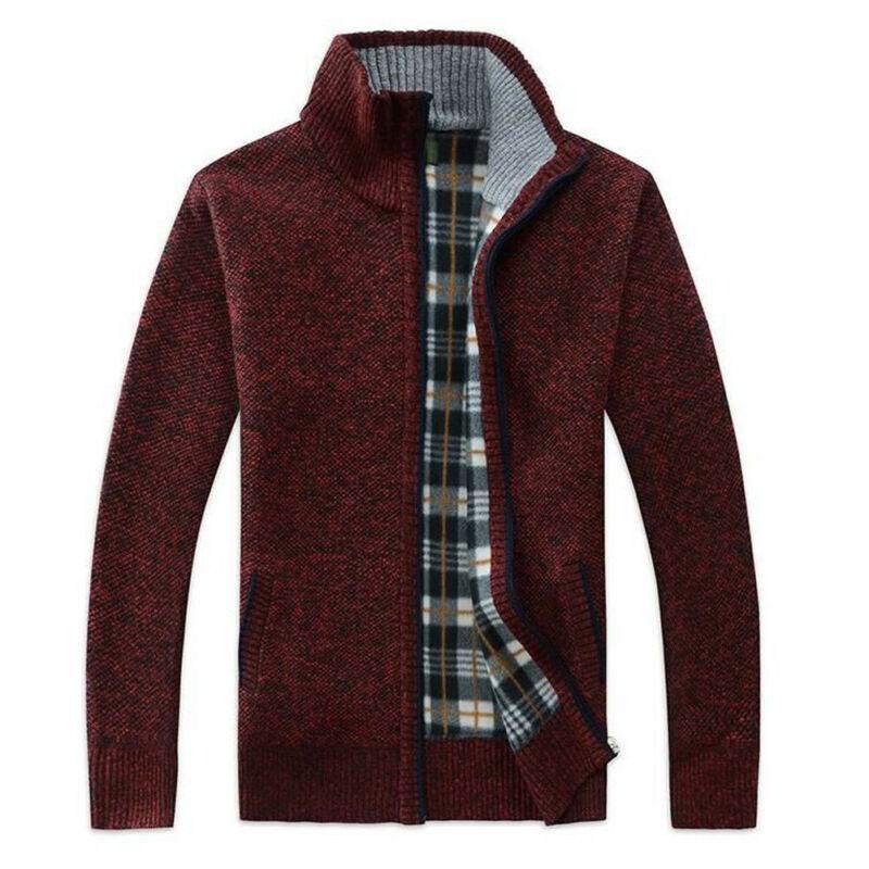 Tricoté Hommes Hiver chaud Slim Cardigan hommes doux laine Knit Zip Jacket Neck Funnel Cardigan Pull Top
