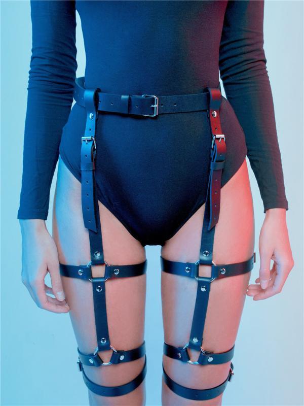 Harnais en cuir sexy femmes jambe Harajuku ceinture pour Bas jarretières Cage Jambe Bondage Punk Suspenders Bretelles réglables gothiques