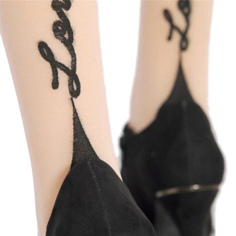1 Paar Englisch Love Letter Tattoo Jacquard weibliche sexy Strümpfe Strumpfhosen für Frauen-Mädchen