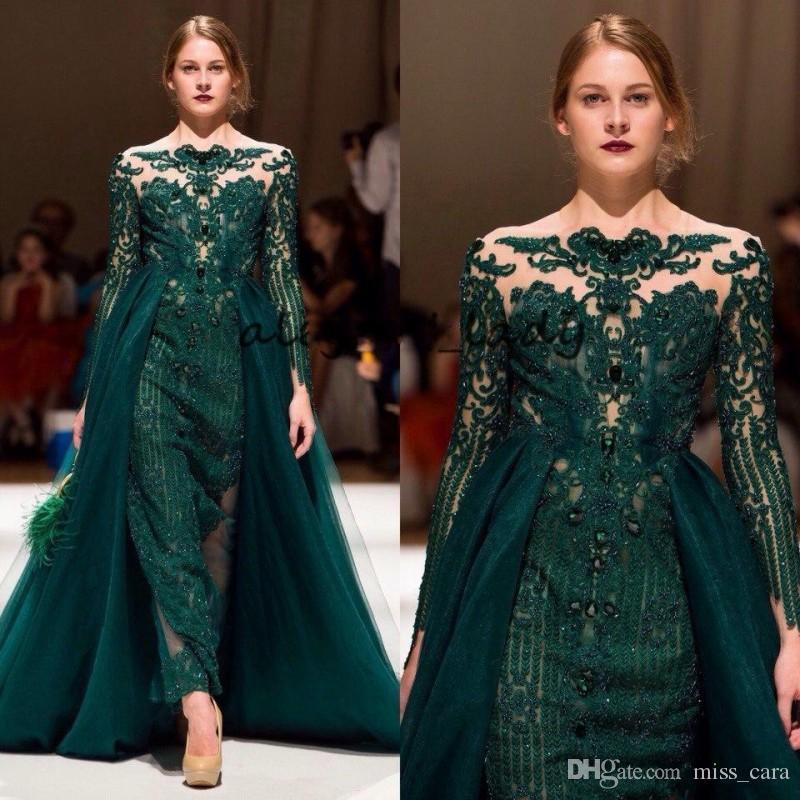 Esmeralda Verde Ocasião Vestidos de Noite com Overskirt 2019 Cheia do Laço Appliques Frisada Manga Longa Vestidos de Baile com Trem Destacável