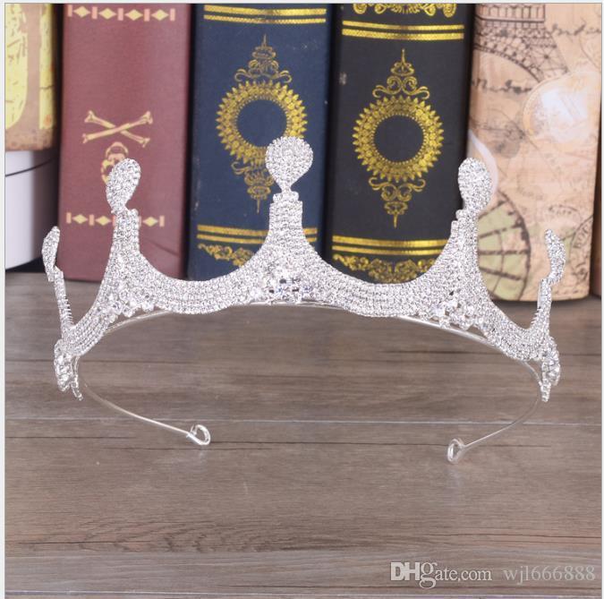 Nuevo tocado de novia de la cadena de garras del Barroco europeo con accesorios de corona de diamantes, accesorios de aro de cabello