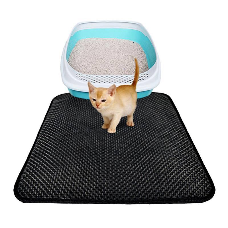 고양이 침대 더블 방수 검은 고양이 쓰레기 매트 3 크기 고양이를위한 마모 방지 매트