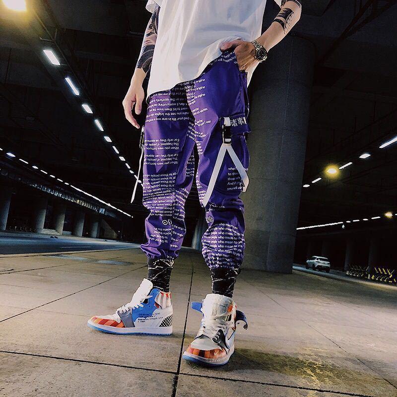 Bloque del color del bolsillo de remiendo del cargo Joggers Hombres Graffiti Hip Hop de impresión de letras Harem Mens ocasionales de baile pantalones pantalón CY200518