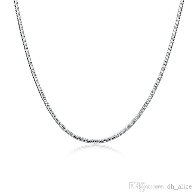 سلاسل فضة مطلي (16 18 20 22 24) بوصة * 3 ملليمتر الرجال 3 متر الأفعى العظام قلادة SN192 أعلى 925 سلاسل لوحة الفضة القلائد المجوهرات