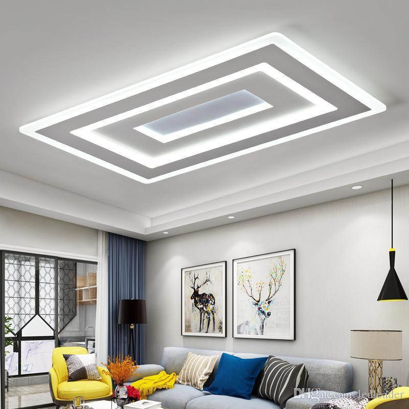 Ultra-ince akrilik modern Kare led tavan ışıkları oturma odası yatak odası için lamparas de techo colgante led tavan lambası fikstür RNB6