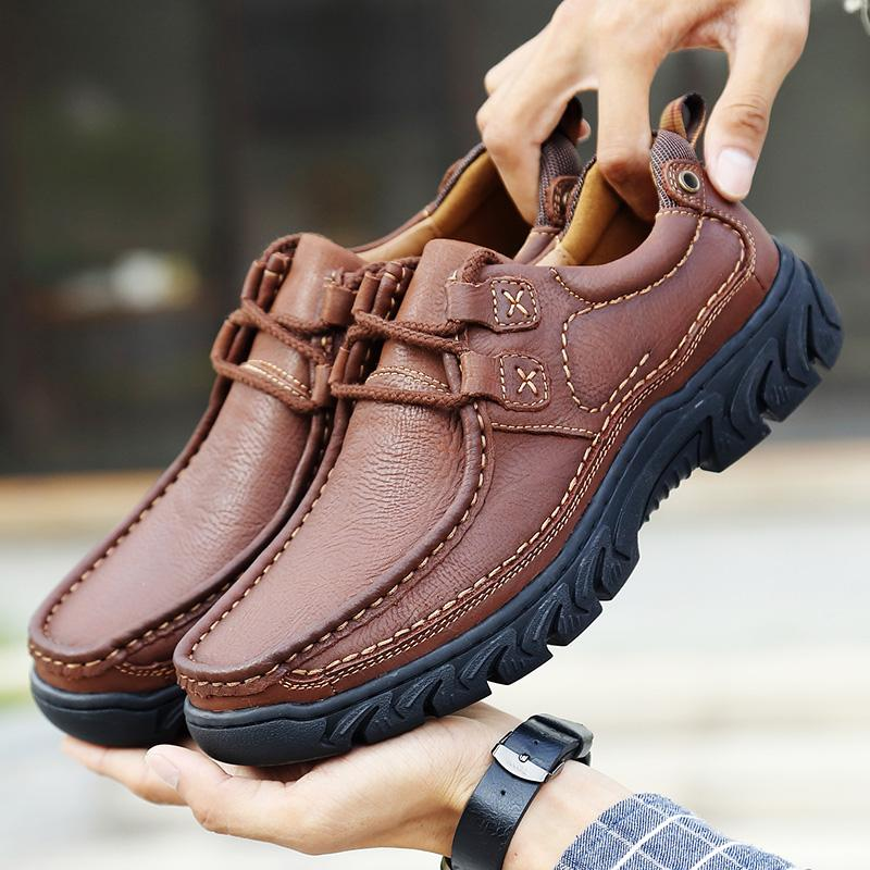 Genuine Leather Shoes Men Footwear Non-Slip Thick Sole Fashion Mens Casual Shoes Male Loafers