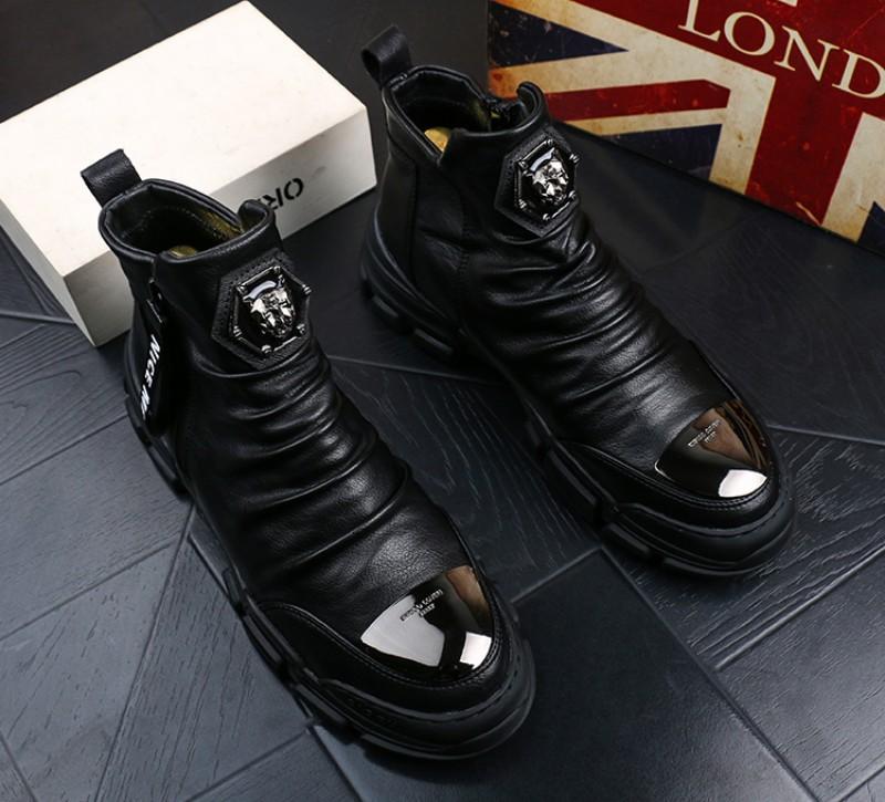 Erkek ayakkabıları erkek Martin botlar kar botları yüksek pamuk çizme erkekler gençlik gündelik ayak bileği çizme sıcak deri bootiesV45 makosenler