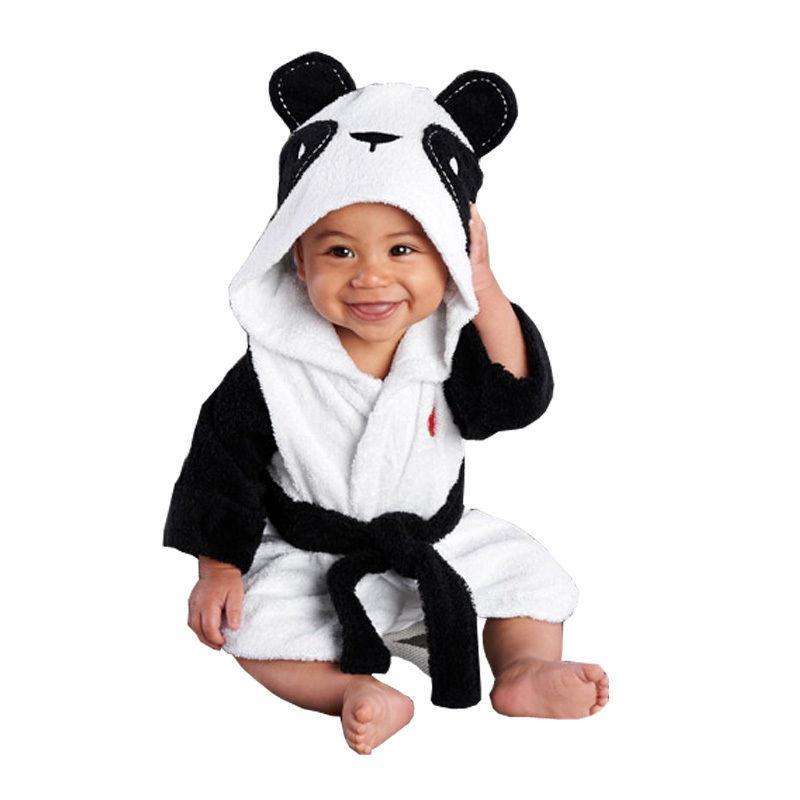 Новорожденные Infantil малышей Детские Унисекс Robe мультфильм животных младенца с капюшоном Халат Полотенце Ванна Terry Купальный халат