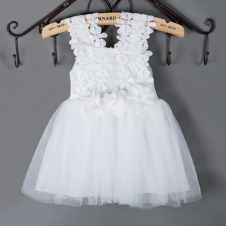 Summer Fashion Sleeveless Vest Lace Tutu Princess Party Dress Mesh Tutu Skirt Girls Dress Flower Kids Clothing