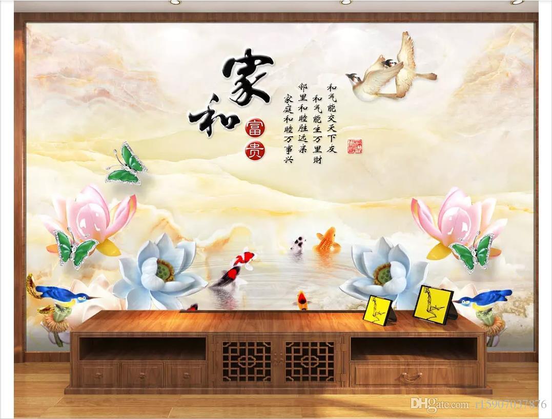 Papiers peints personnalisés 3D home decor photo papier peint Accueil et riche lotus neuf poissons cygne jade sculpture salon TV canapé fond mur