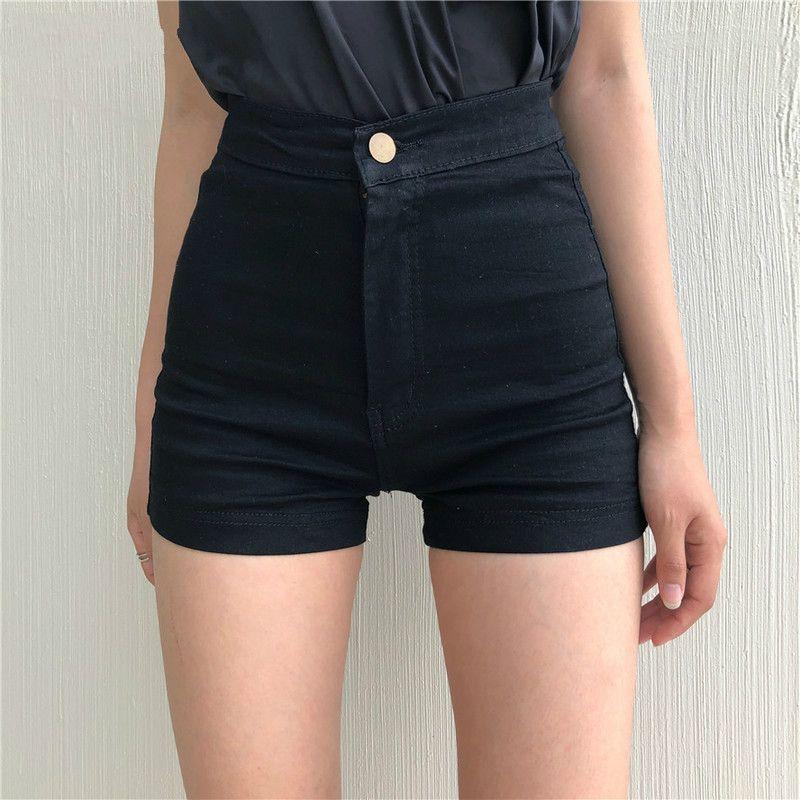 Shorts Femmes Noir taille haute Skinny élastique Style Coréen Femmes Hip Solide Confortable Bouton Tendance Zipper Daily 2020New