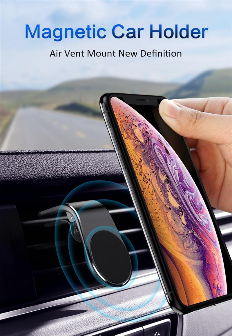 TOTTIDAY L-Shape Air Vent Smartphones Bracket Stand Magnet Cellphone Holder Magnetic Suction Car Mount Mobile Phone Holder
