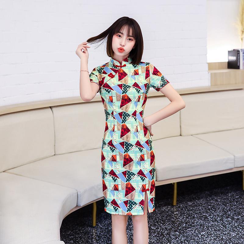 FZSLCYIYI quotidiano Cheongsam al ginocchio di stile Cheongsam Slim elegante abito tradizionale delle donne geometrica cinese Stampa abito qipao