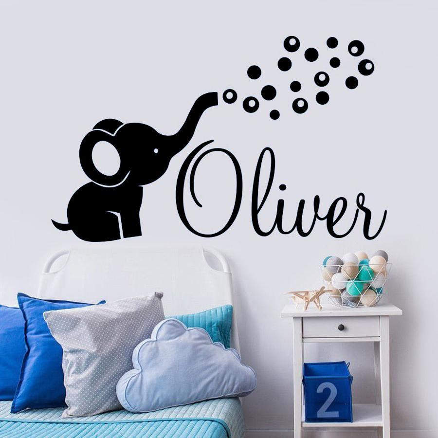 شخصية اسم لصائق الحائط لطيف الفيل الفن الفينيل ملصقات نوم ديكور المنزل الفيل فقاعات الشارات الحضانة غرفة الاطفال