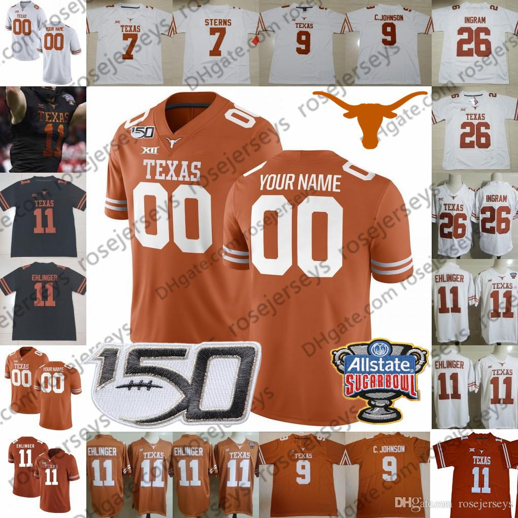 Personalizzato Texas Longhorns 6 Devin Duvernay 7 Caden Sterns Daniel Young 17 Cameron Dicker 2019 Orange Retro Black Men Youth Kid 150th Jersey