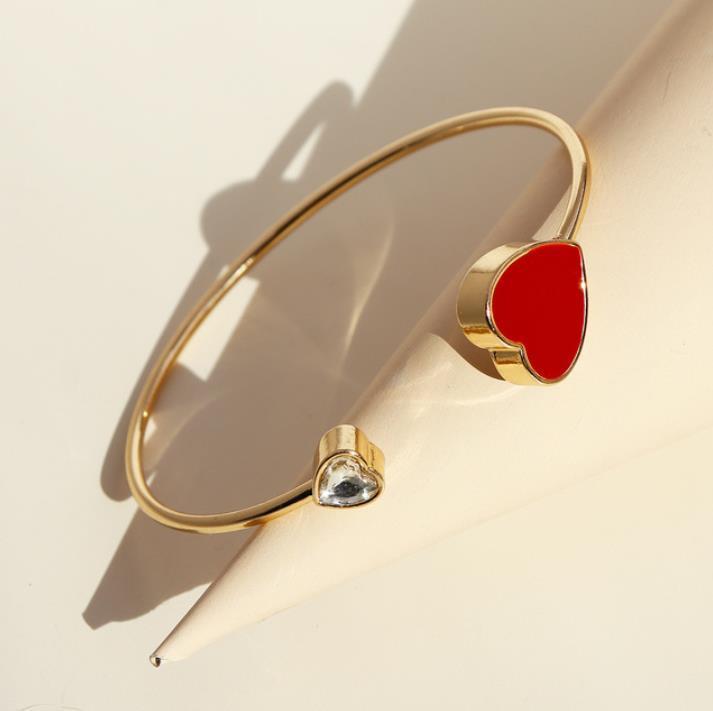 2020 novo pêssego coração vermelho pulseira novas mulheres europeias e norte-americanos jóias