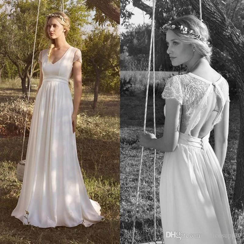 Beach Simple Chiffon Wedding Dresses V Neck Short Sleeve Lace Applique Vintage Hollow Back Bridal Gowns Cheap