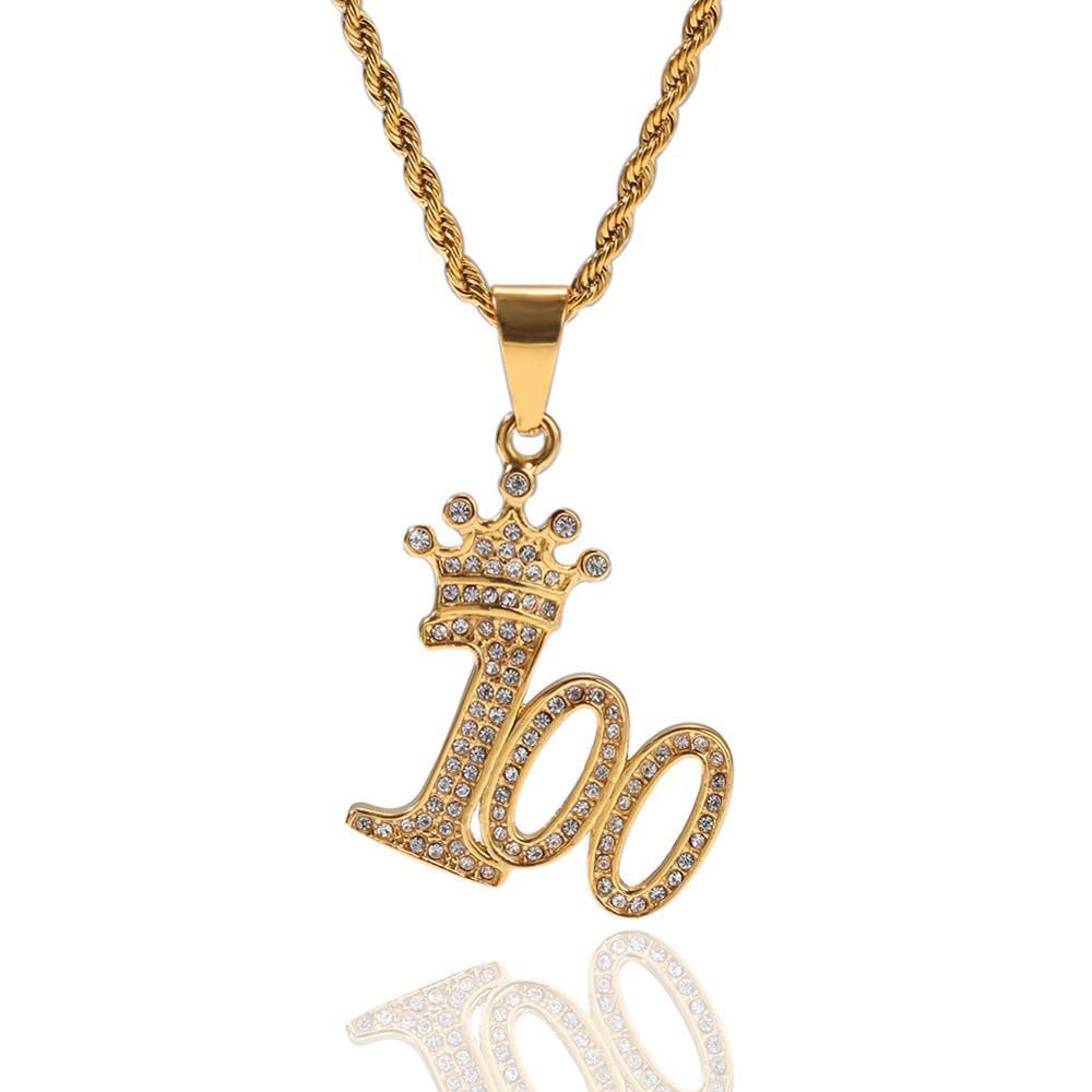 Männer Hip Hop Krone und 100 Form hängende Halsketten-Edelstahl-verblassen nie Hiphop gefrorene heraus Halskette Charme Schmuck Geschenke