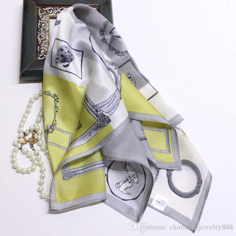 100% Real bufandas de seda multifunción bufandas cuadradas y chales Wraps Hijabs Diadema Hairband Diseñador de la impresión de lujo Bufandas bolso femenino Scarv