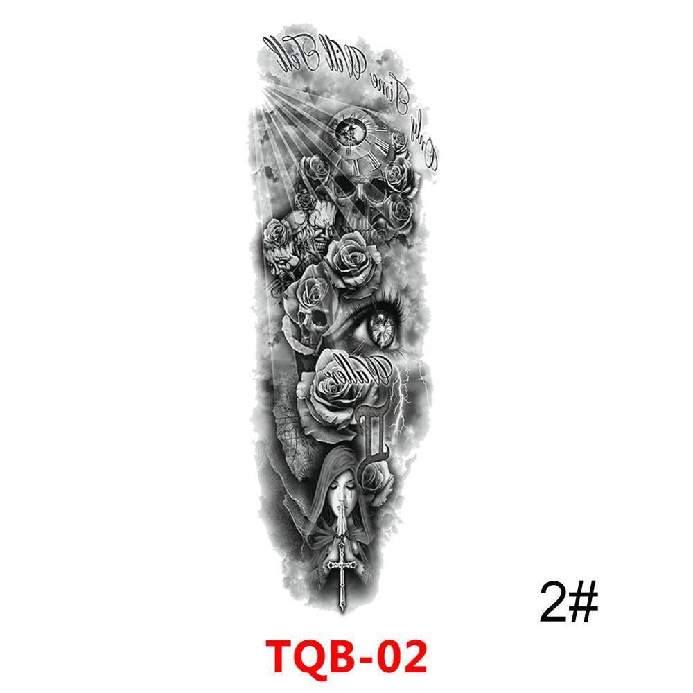 Grande Arm Sleeve Lion Tattoo Crown King Rose Waterproof Temporária Tatoo Etiqueta Wild Wolf Tiger Men completa Crânio Totem Tatto