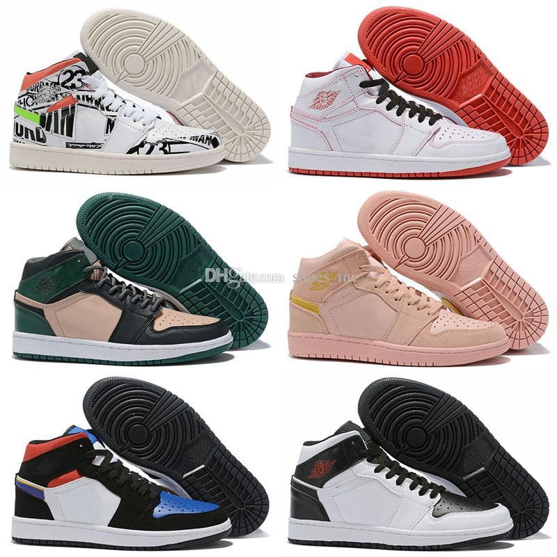 2019 Nouveau Jumpman 1 I High Ce que les Graffiti Or Vert Rose Chaussures de basket-ball de haute qualité Mode Femmes Hommes 1s sport Chaussures de sport Taille 36-45