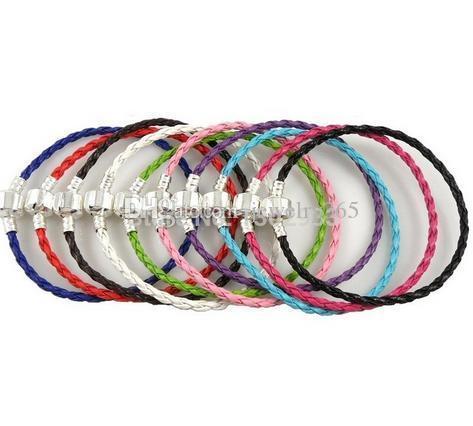 Wholesale 50pcs /Lot Silver Clasp mixed Braid Leather Charm Bracelets Fit European Beads Choose Sizes