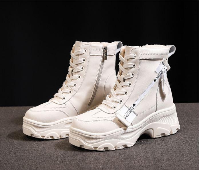 Vendita calda-Scarpe Autunno Inverno Donne Martin grossi stivali Cross-legato Side Zipper Martin Stivali Casual Piattaforma Mujer Snow Boots