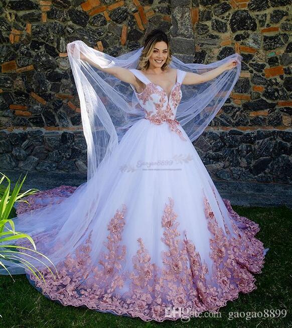 2019 Fairy 3D lace Appliques Court Train Princess ball gown Wedding Dresses spaghetti Dubai Arabic boho princess Wedding Gowns with veil