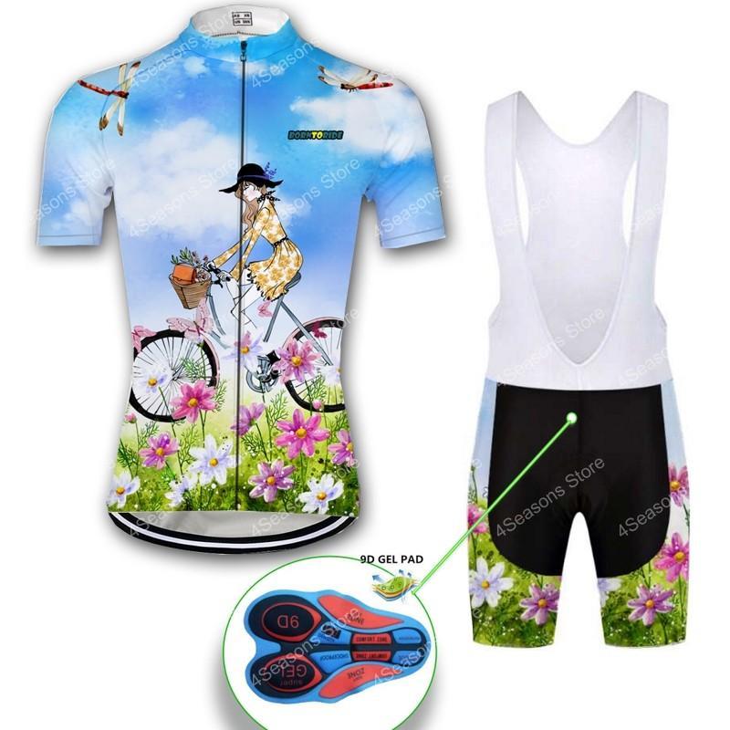 Donne Ciclismo Jersey Set biciclette abbigliamento ciclismo manica corta Abbigliamento bici Jersey signore Shorts ciclo Imposta traspirante estate