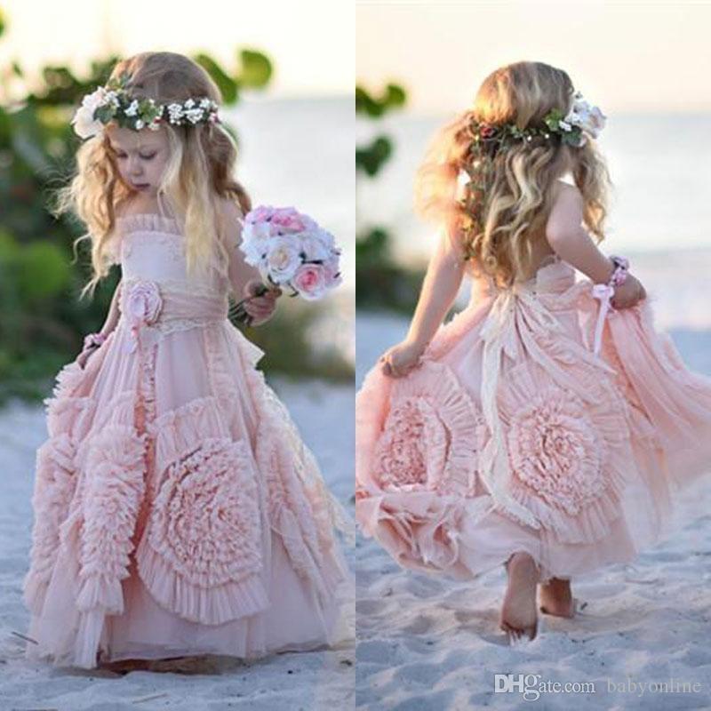 Rose robes fille fleur spaghetti Volants fait main fleurs en dentelle Tutu 2020 Vintage Robes petits bébé pour la communion Boho mariage