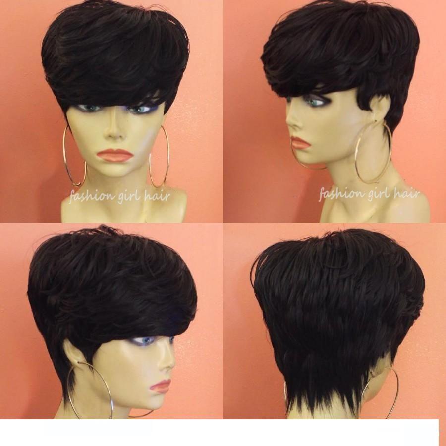 Brazilian Pixie Cut Wigs Human Hair Wigs With Bang Cheap Short Human Hair  Wigss For Black Women Bob Short Straight Lace Front Wigs Short Lace Wigs