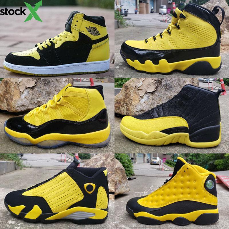 2020 yeni Jumpman 1 4 9 11 12 13 14 Bumblebee yüksek erkekler Retro Jordon basketbol ayakkabıları 11 s sneakers Spor Açık eğitmenler kutusu ile yüksek