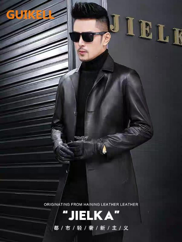 GUIKELL los hombres del cuero de la chaqueta de la ropa traje de negocios botón de cuello alto