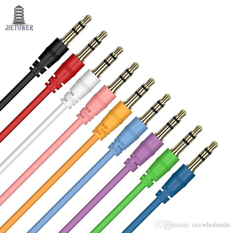 AUX 케이블 남성 남성 오디오 케이블 색상 자동차 오디오 3 5mm 잭 플러그 AUX 케이블 헤드폰 MP3에 대 한 500pcs