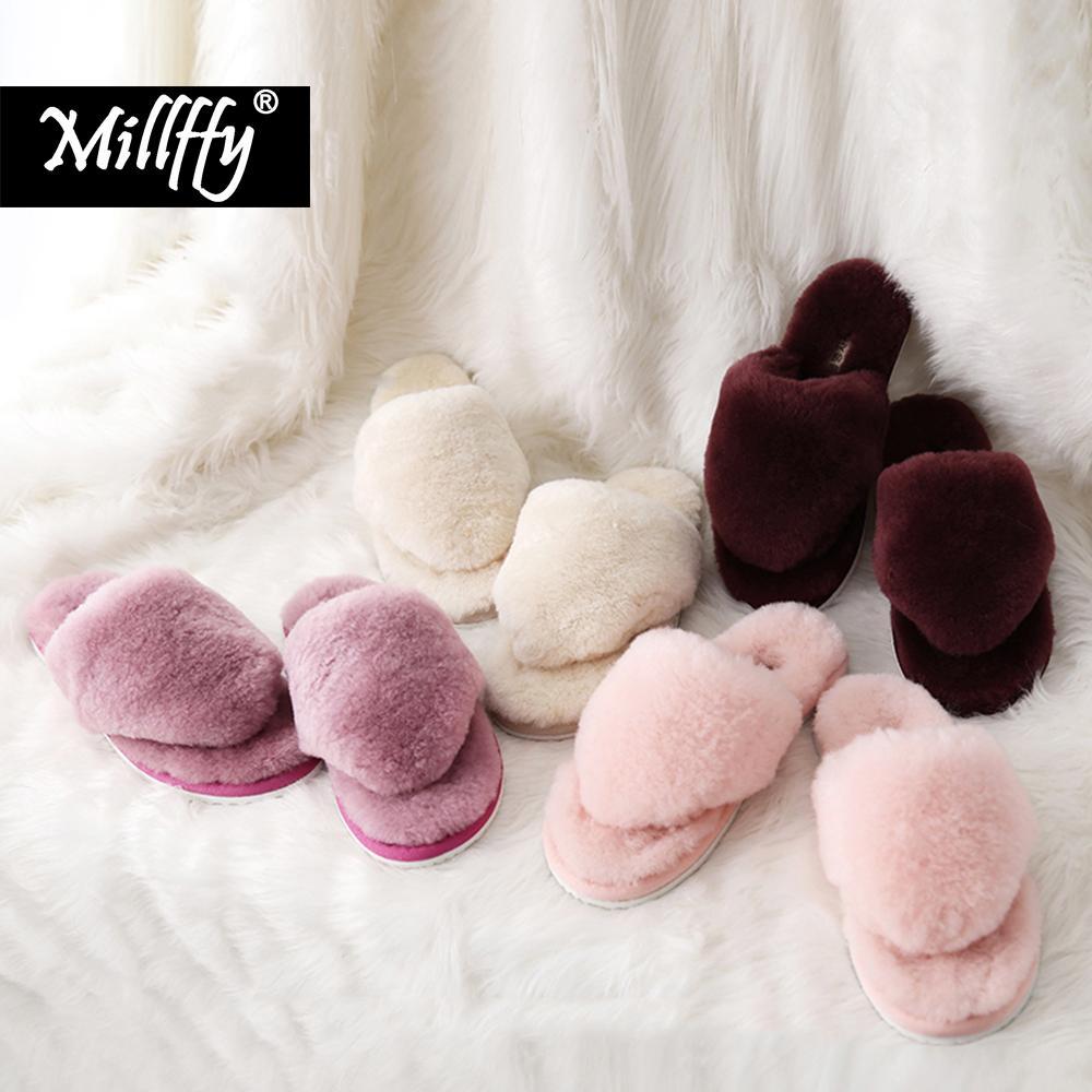 Millffy automne pantoufles en laine d'hiver femmes flip pantoufles en peluche fourrure flip extérieurs pour la maison