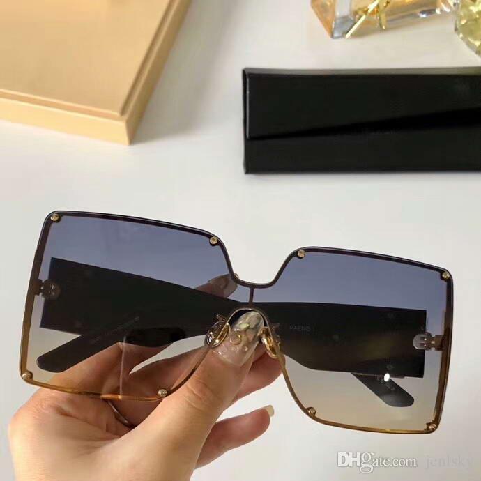 büyük boy kare güneş gözlüğü altın siyah çerçeve gri gölgeli kadınlar OVERSUZE GÜNEŞ GÖZLÜĞÜ Güneş kutusuyla gözlükler Yeni