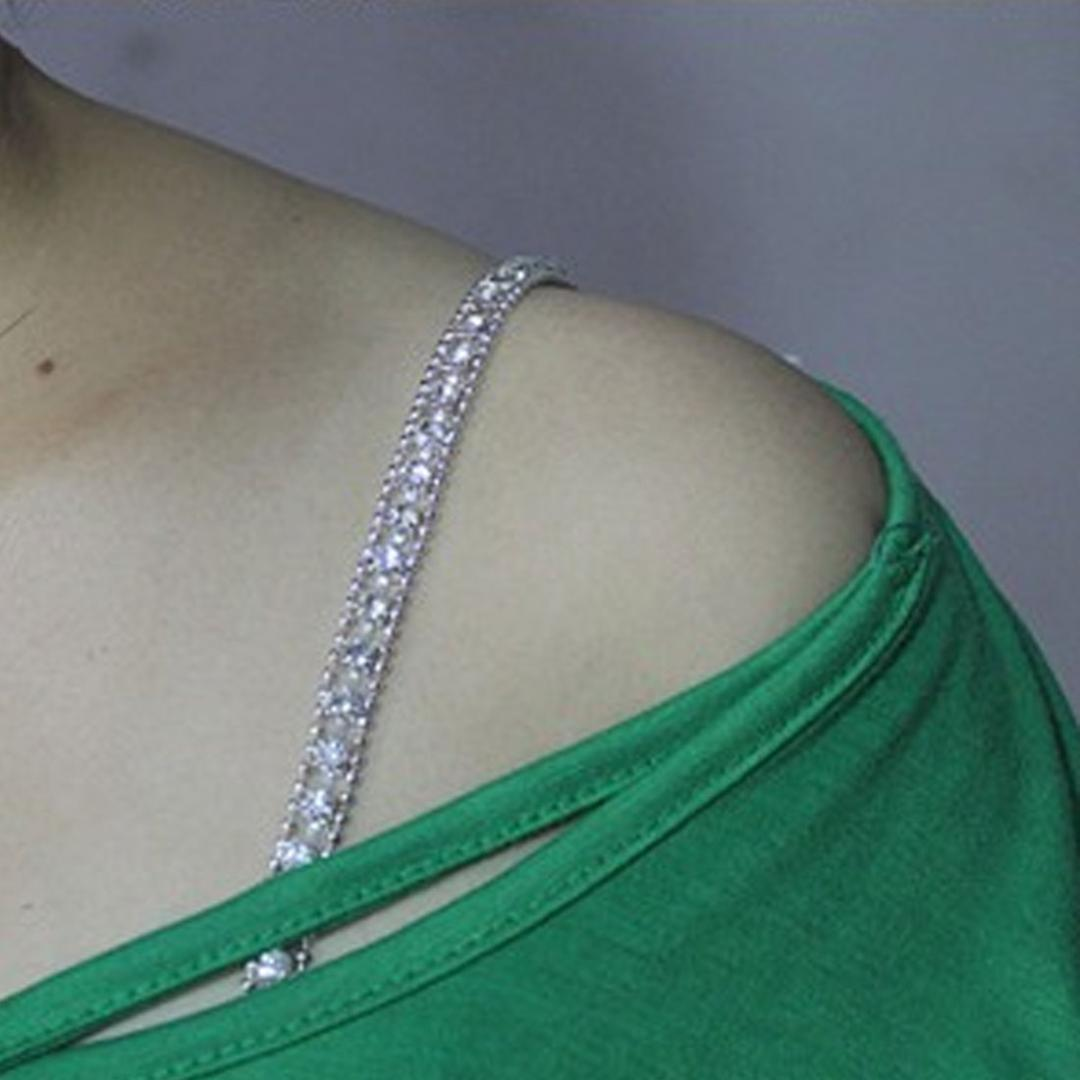 Lady Adjustable Crystal Belt Bra Strap Party Evening Dress Underwear Accessories