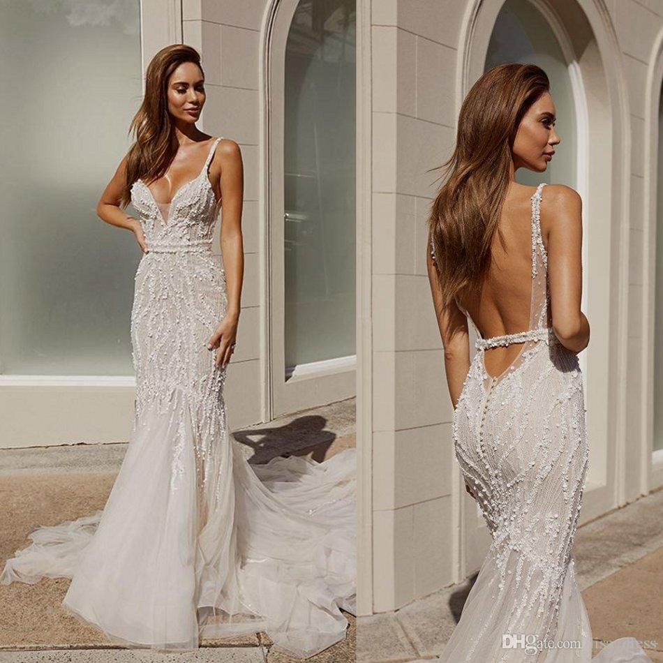 2020 Pallas Couture Русалка свадебные платья сексуальные бретельки кружева бисер блестки свадебные платья с открытой спиной развертки поезд Русалка свадебные платья