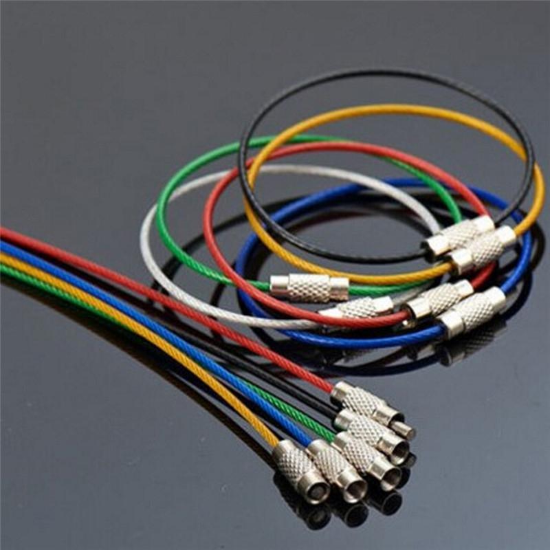 Schlüsselanhänger Schraubverriegelung Edelstahl-Drahtseil Seil Schlüsselhalter Schlüsselanhänger Ringe Kabel im Freien wandernden Großhandel