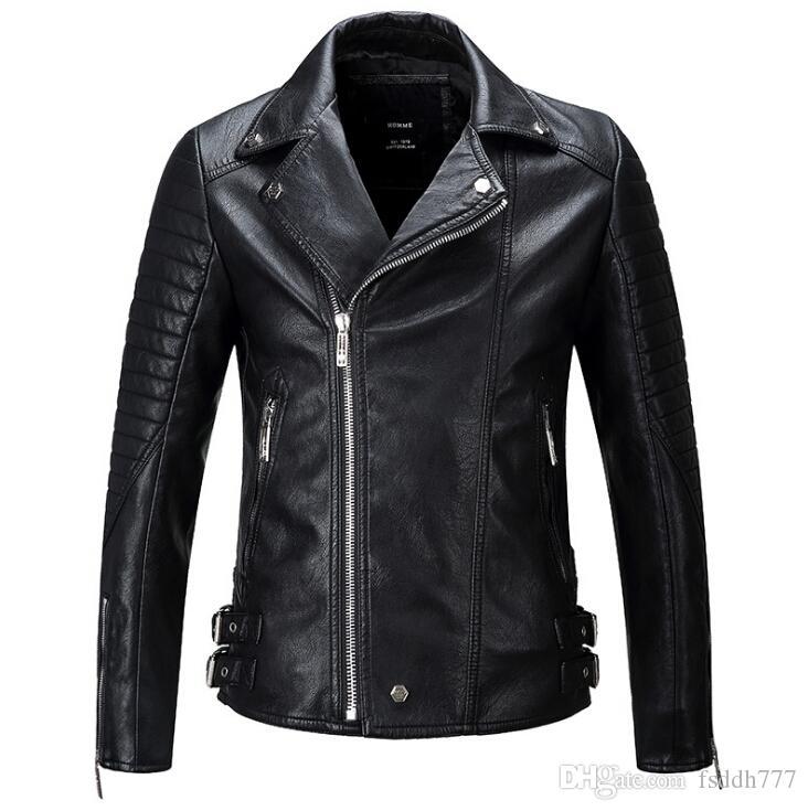 High-quality Men Winter Thick Leather Jacket Biker Wear Multi Zipper Patch Short Style PU Leather Biker Coat Men